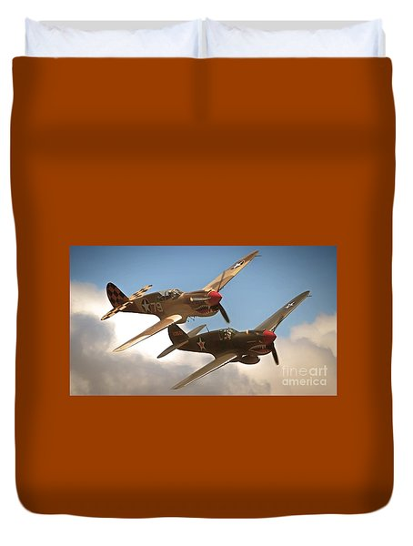 Tigers On The Prowl P-40 Warhawks Duvet Cover