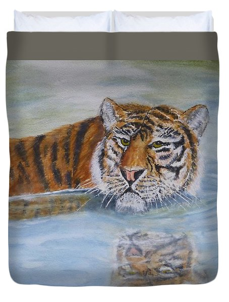 Duvet Cover featuring the painting Tigers Reflection by Kelly Mills
