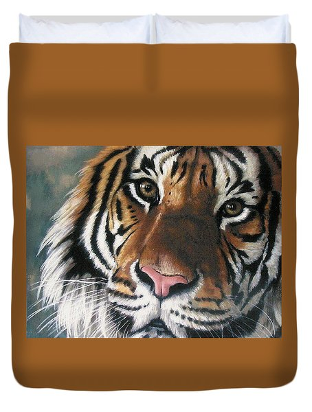 Duvet Cover featuring the pastel Tigger by Barbara Keith