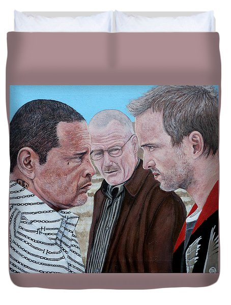 Duvet Cover featuring the painting Tight Tight Tight by Tom Roderick