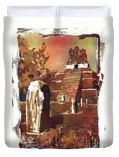Duvet Cover featuring the painting Tikal Mayan Ruins- Guatemala by Ryan Fox