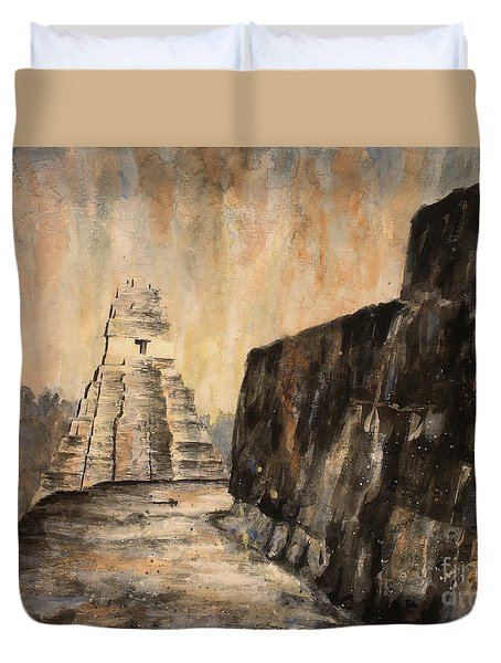 Duvet Cover featuring the painting Tikal Ruins- Guatemala by Ryan Fox