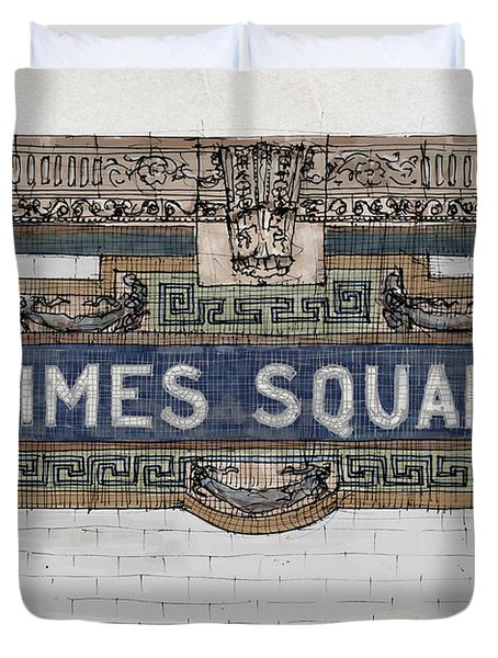 Tile Mosaic Sign, Times Square Subway New York, Handmade Sketch Duvet Cover