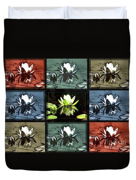 Duvet Cover featuring the photograph Tiled Water Lillies by Lance Sheridan-Peel