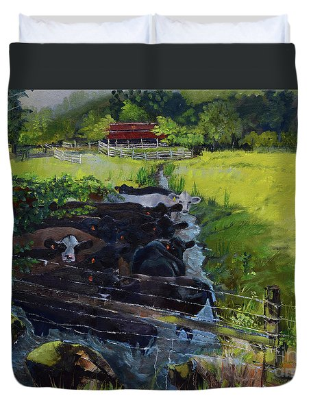 Duvet Cover featuring the painting Till The Cows Come Home by Jan Dappen
