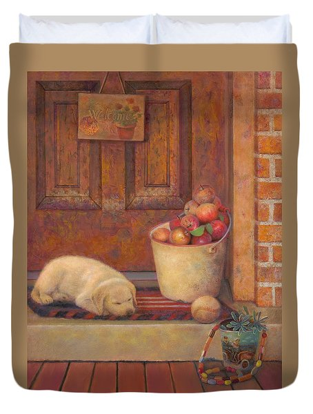 Duvet Cover featuring the painting Till The Kids Come Home by Nancy Lee Moran