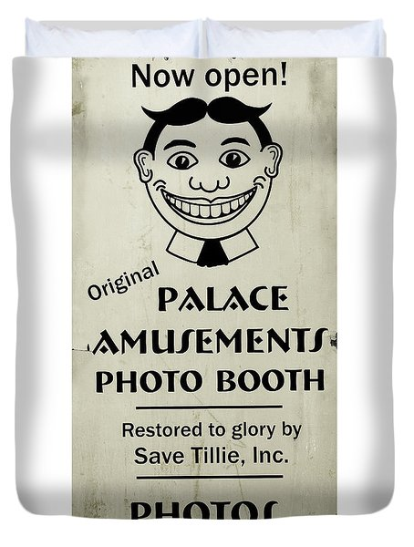 Duvet Cover featuring the photograph Tillie Photo Booth Sign by Colleen Kammerer