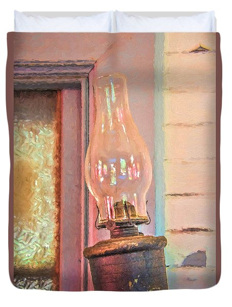 Duvet Cover featuring the photograph tilted Outdoor Kerosene Lamp by Gary Slawsky
