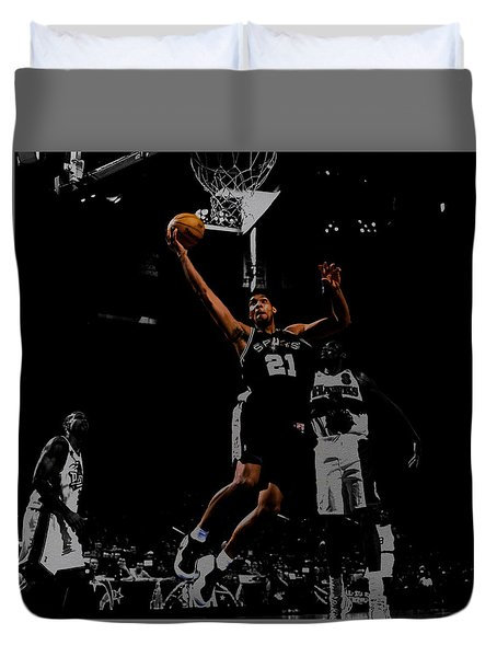 Duvet Cover featuring the digital art Tim Duncan 2a by Brian Reaves