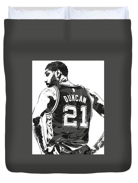 Tim Duncan San Antonio Spurs Pixel Art 2 Duvet Cover