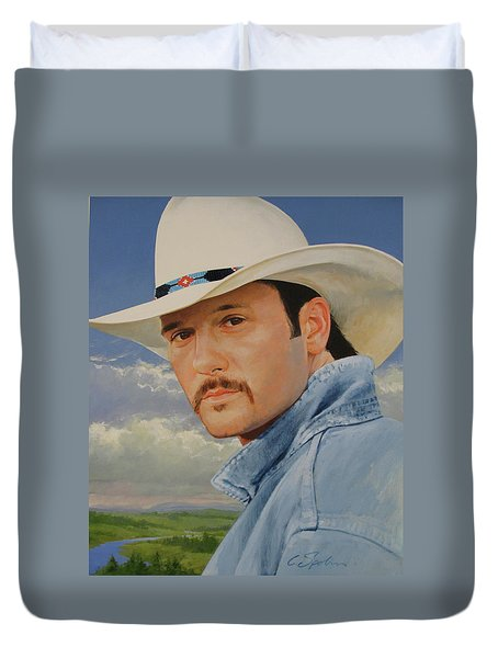 Duvet Cover featuring the painting Tim Mcgraw by Cliff Spohn