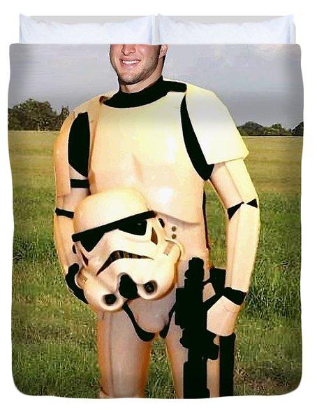 Tim Tebow Stormtrooper Duvet Cover by Paul Van Scott
