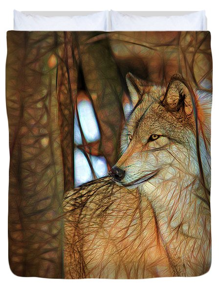 Timber Wolf Colorful Art Duvet Cover