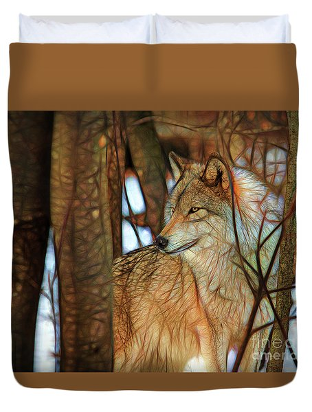 Timber Wolf Colorful Art Duvet Cover by Eleanor Abramson