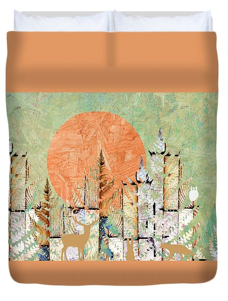 Timberland Forest Scenic With Stag Deer Owl In Green Duvet Cover by Suzanne Powers
