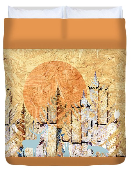 Timberland Forest Scenic With Stag Deer Rabbit Owl I Duvet Cover by Suzanne Powers