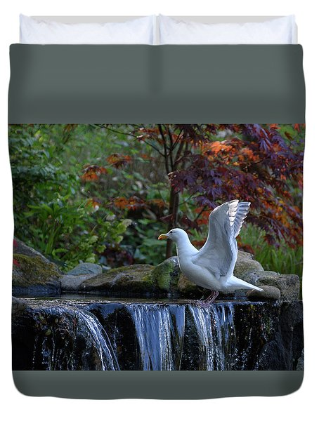 Time For A Bird Bath Duvet Cover