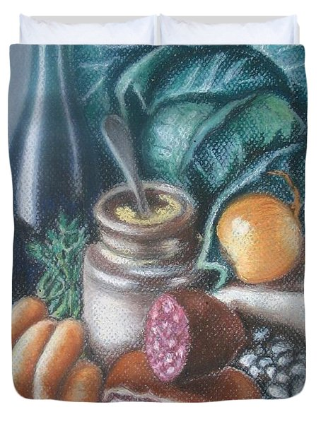 Duvet Cover featuring the painting Time For Soup by Inese Poga