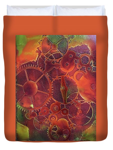 Time Marches On Duvet Cover by Suzanne Canner