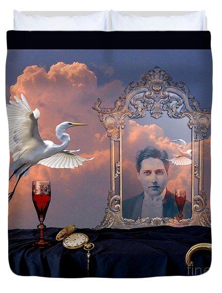 Duvet Cover featuring the digital art Time Reflection by Alexa Szlavics