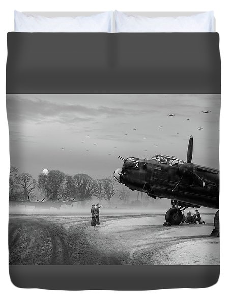 Duvet Cover featuring the photograph Time To Go - Lancasters On Dispersal Bw Version by Gary Eason
