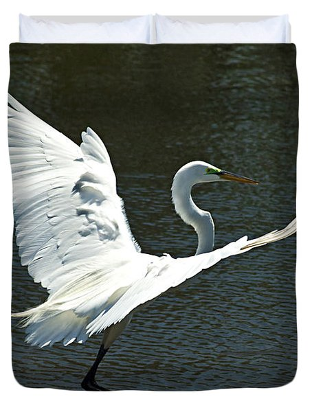 Duvet Cover featuring the photograph Time To Land by Carolyn Marshall
