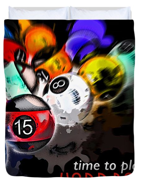 Time To Play Hard Ball Black Duvet Cover