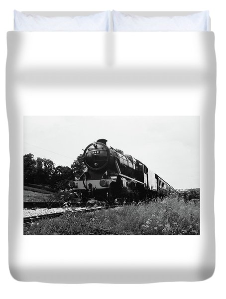 Time Travel By Steam B/w Duvet Cover by Martin Howard