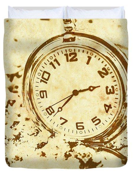 Time Worn Vintage Pocket Watch Duvet Cover