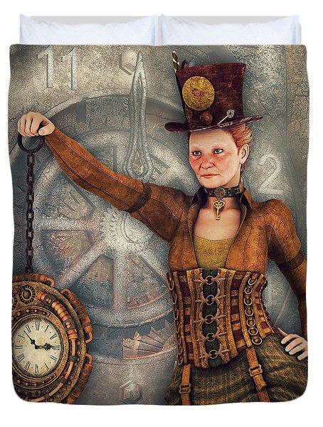 Duvet Cover featuring the digital art Timekeeper by Jutta Maria Pusl