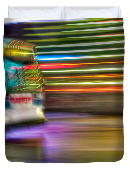 Times Square Bus Duvet Cover by Clarence Holmes