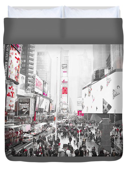 Times Square Selective Color Duvet Cover by Suzanne Powers