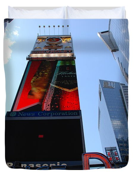 Times Square Cops Duvet Cover by Rob Hans