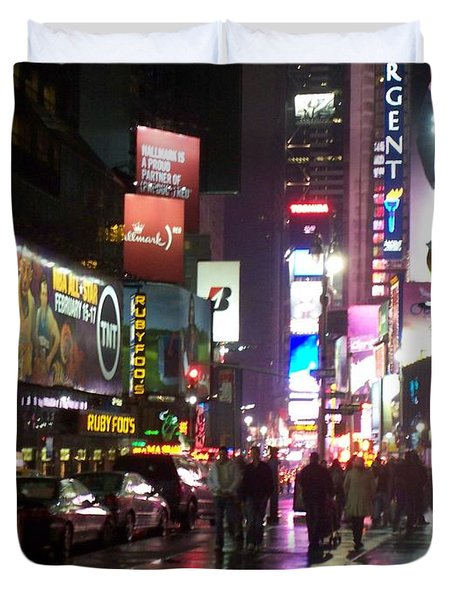 Times Square In The Rain 1 Duvet Cover by Anita Burgermeister