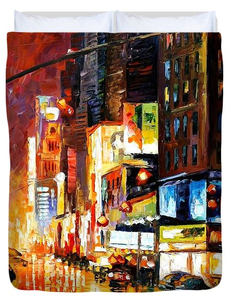 Times Square Duvet Cover by Leonid Afremov