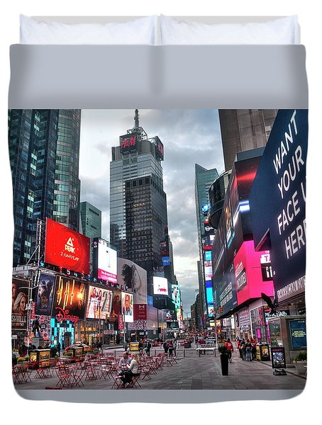Times Square New York City 102 Duvet Cover by Timothy Lowry