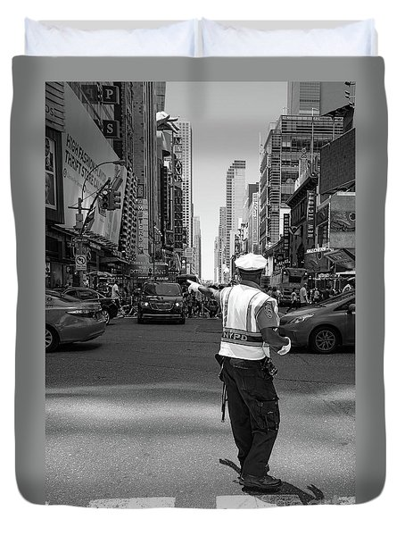 Times Square, New York City  -27854-bw Duvet Cover