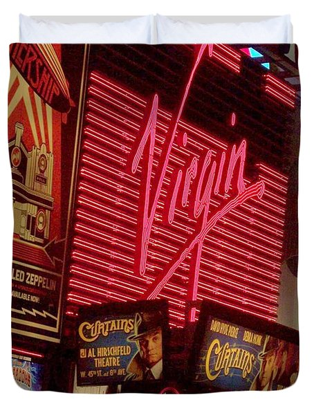 Times Square Night Duvet Cover by Debbi Granruth