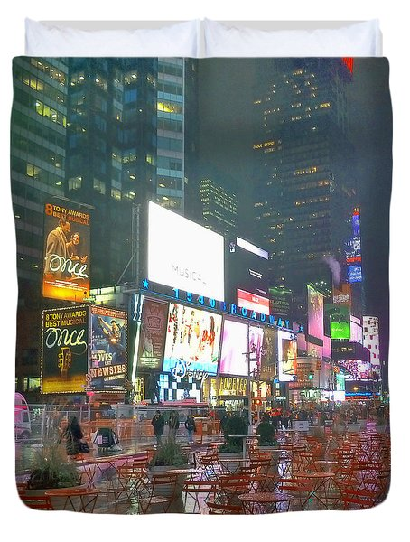 Times Square Red Rain Duvet Cover by Jeffrey Friedkin