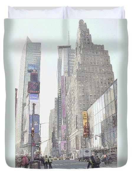 Times Square Street Scene Duvet Cover by Dyle Warren