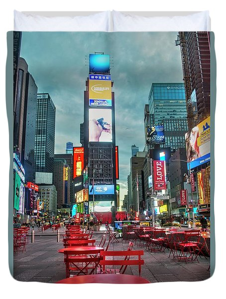 Duvet Cover featuring the digital art Times Square Tables by Timothy Lowry