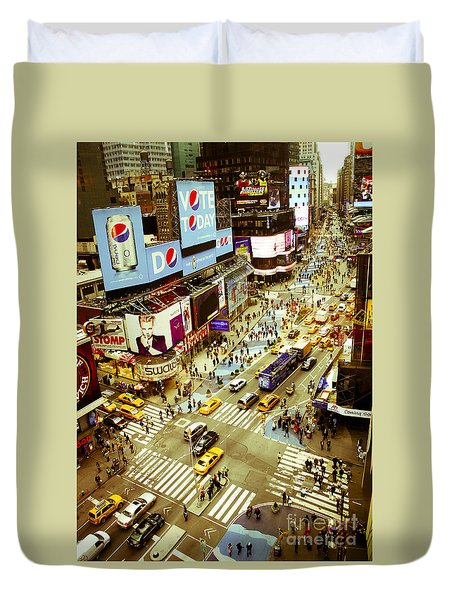 Times Square Traffic Duvet Cover
