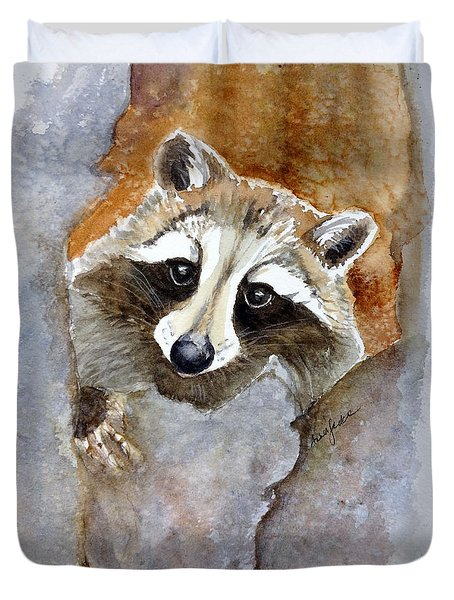 Timid Racoon Duvet Cover