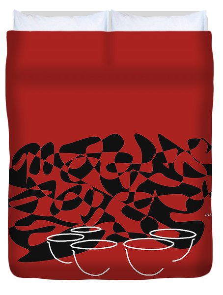 Timpani In Orange Red Duvet Cover by David Bridburg