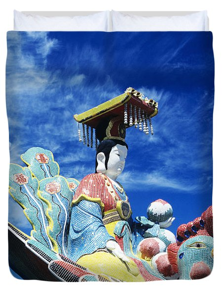 Tin Hua Temple Closeup Of Colorful Statue Duvet Cover by Gloria and Richard Maschmeyer - Printscapes