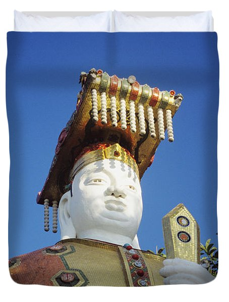 Tin Hua Temple Colorful Statue Duvet Cover by Gloria and Richard Maschmeyer - Printscapes