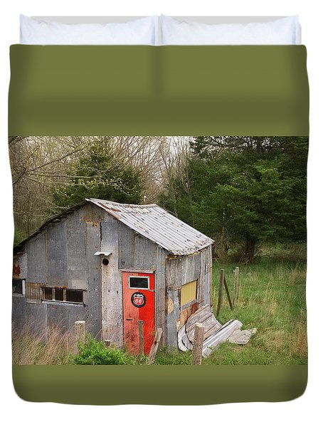 Tin Phillips 66 Shed Duvet Cover by Grant Groberg