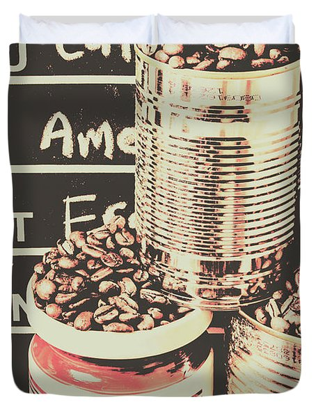 Tin Signs And Coffee Shops Duvet Cover