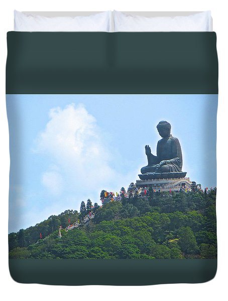Tin Tan Buddha In Hong Kong Duvet Cover