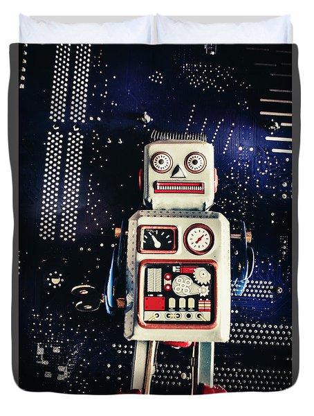 Tin Toy Robots Duvet Cover